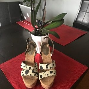 Animal print suede Rebecca Taylor wedges, size 8M